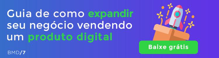 empreendedorismo digital e produto digital banner com foguete e botão para clicar e baixar grátis material rico
